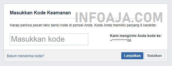 Kode keamanan dari Facebook