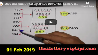 Thailand lottery VIP htf 3UP total Game for 01 February 2019