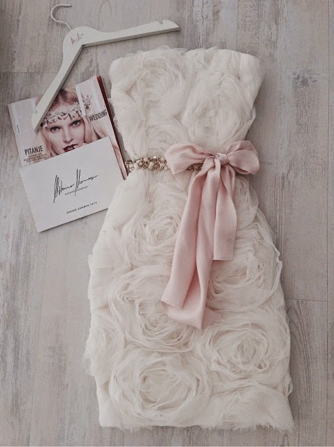 Little Wedding Dress with Roses and Pastel Pink Bow by Mihano Momosa