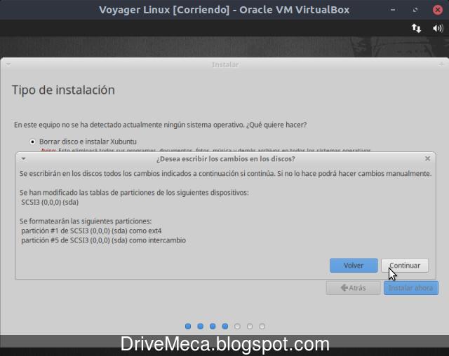 Confirmamos cambios de particionado de disco en Voyager Linux