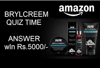 Amazon Brylcreem quiz time win rs.5000/- as amazon pay balance