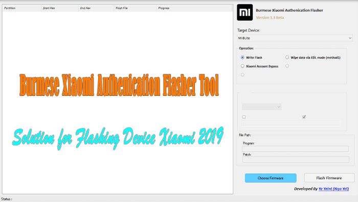 Burmese Xiaomi Authenication Flasher Tool 1.3 Beta Version