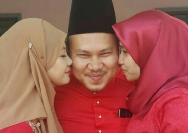 Dua Isteri Cium Serentak Pipi Suami, Elakkan Madu Cemburu