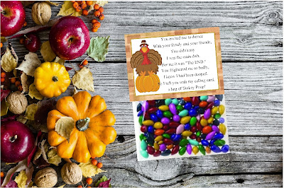 What a hoot!  Share a fun laugh with your friends and family on Thanksgiving with this printable Turkey Poop bag topper.  With a fun poem that you can add to a bag of treats, you'll be wishing your loved ones a Happy Thanksgiving with a scared turkey and some yummy sweets.