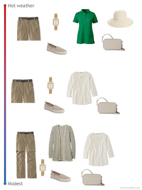 3 ways to style khaki zip-off pants from a travel capsule wardrobe
