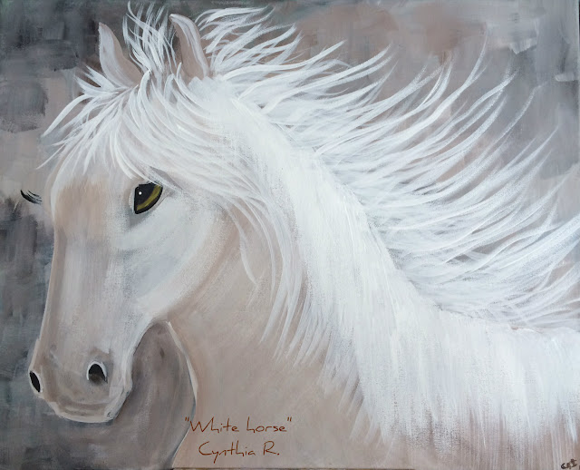 white horse, caballo blanco, pintura acrílica