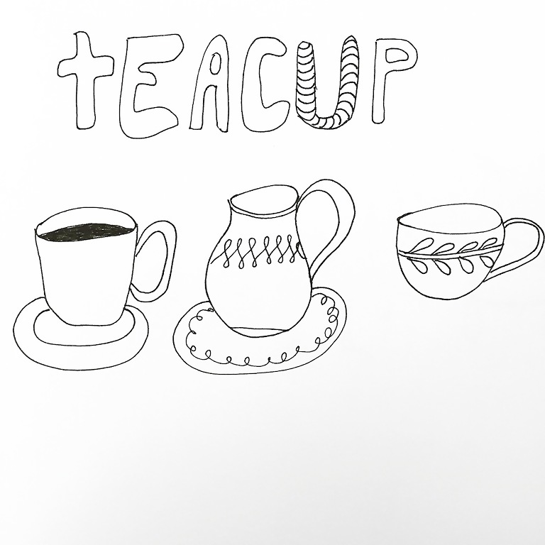 Lettering- Line drawing- Motivation: How to draw a teacup