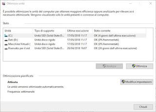 Deframmenta e ottimizza unità Windows