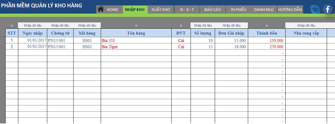 Xuất nhập tồn bằng Excel