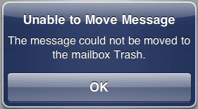 unable to move message to trash iphone
