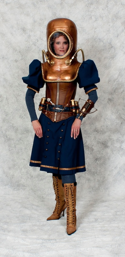 Female steampunk diver wearing a victorian bathing suit dress, copper diving helmet, corset, and boots. Nautical Steampunk cosplay