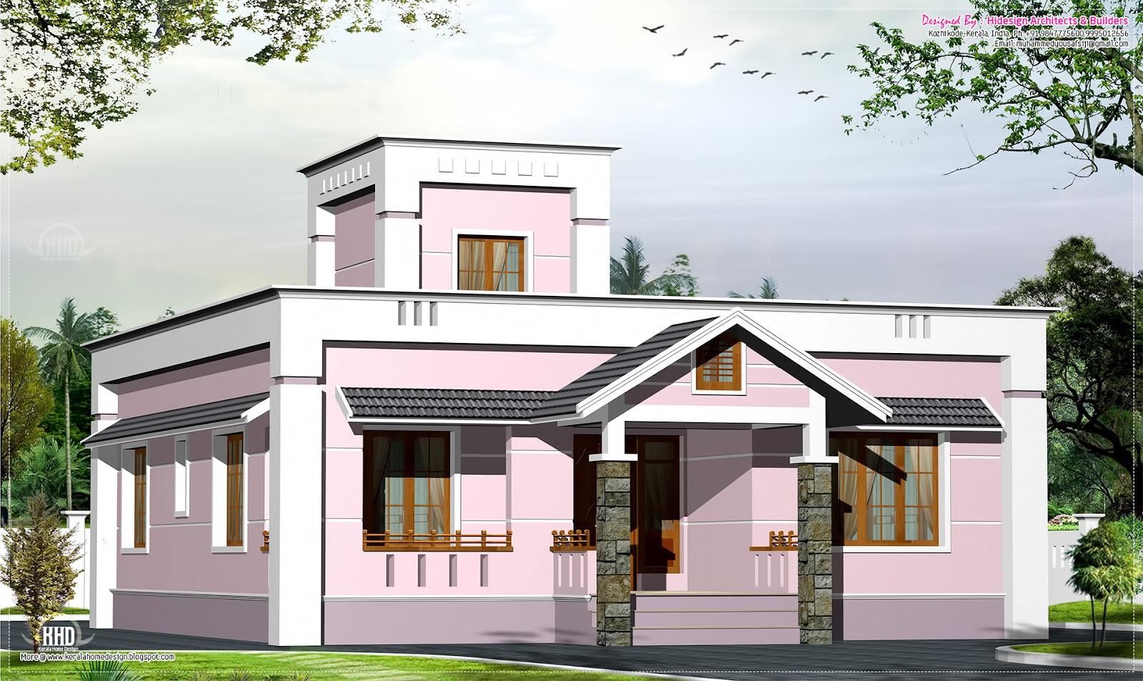 1000 small budget villa plan kerala home design for Kerala house plans 1000 square feet