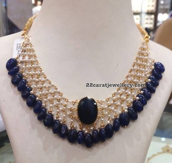 Pearls Set with Blue Sapphire Drops