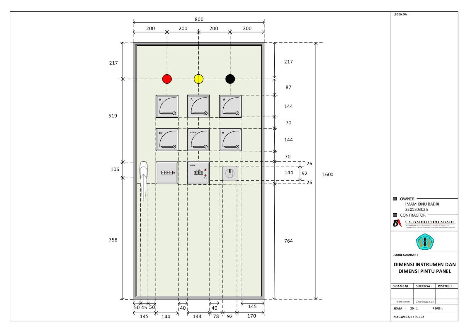 Dimensi Instrumen dan Dimensi Pintu Panel