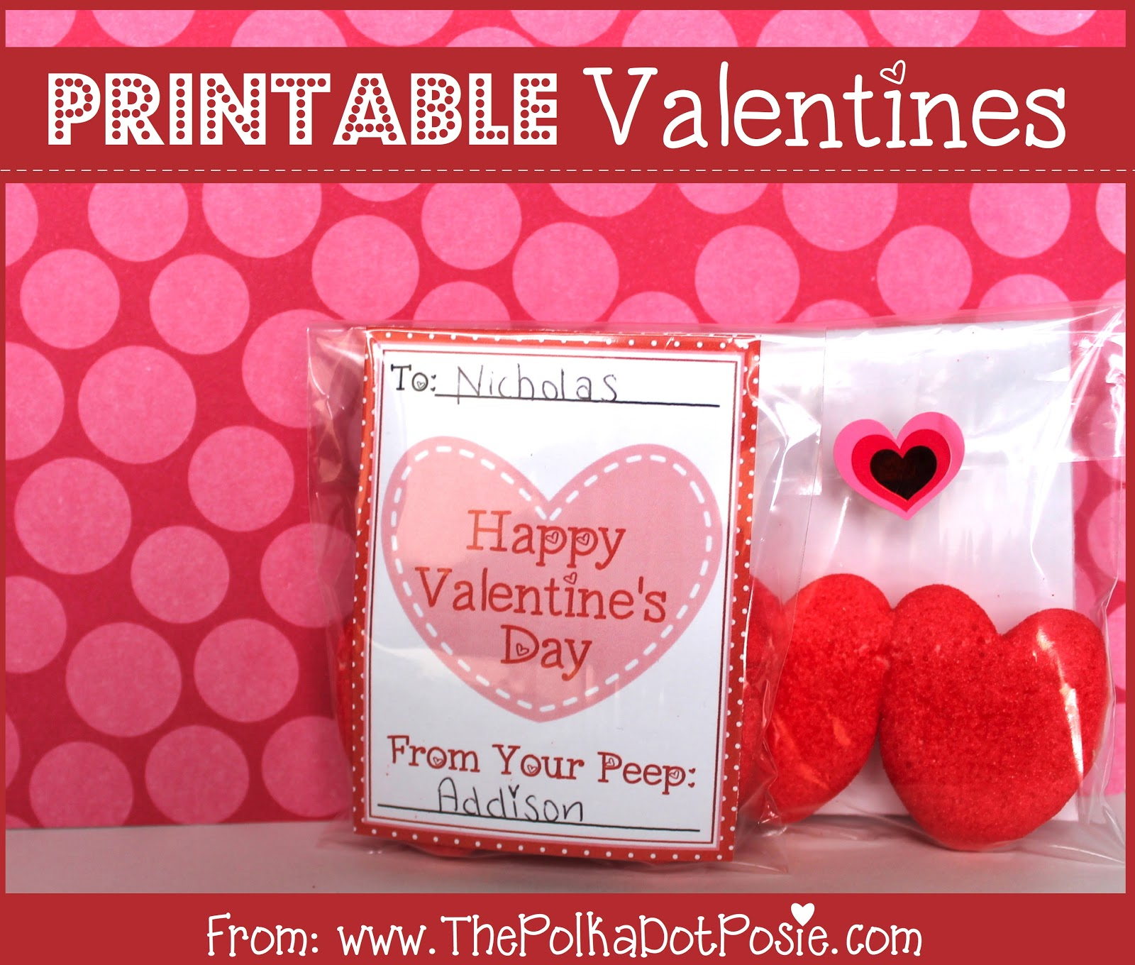 The Polka Dot Posie We Heart Printables Week Day 4 Valentine S Day Cards Treat Tags