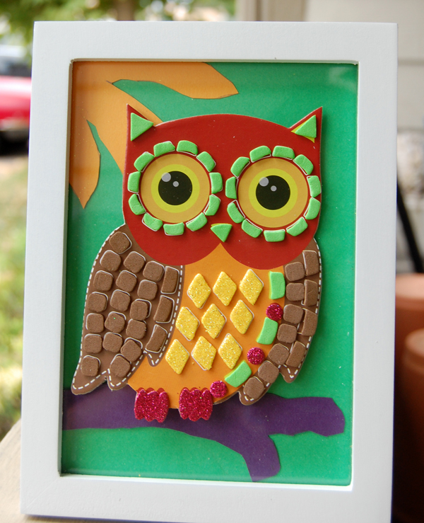Final owl image of the $5 Craft Challenge done by Noami Foster