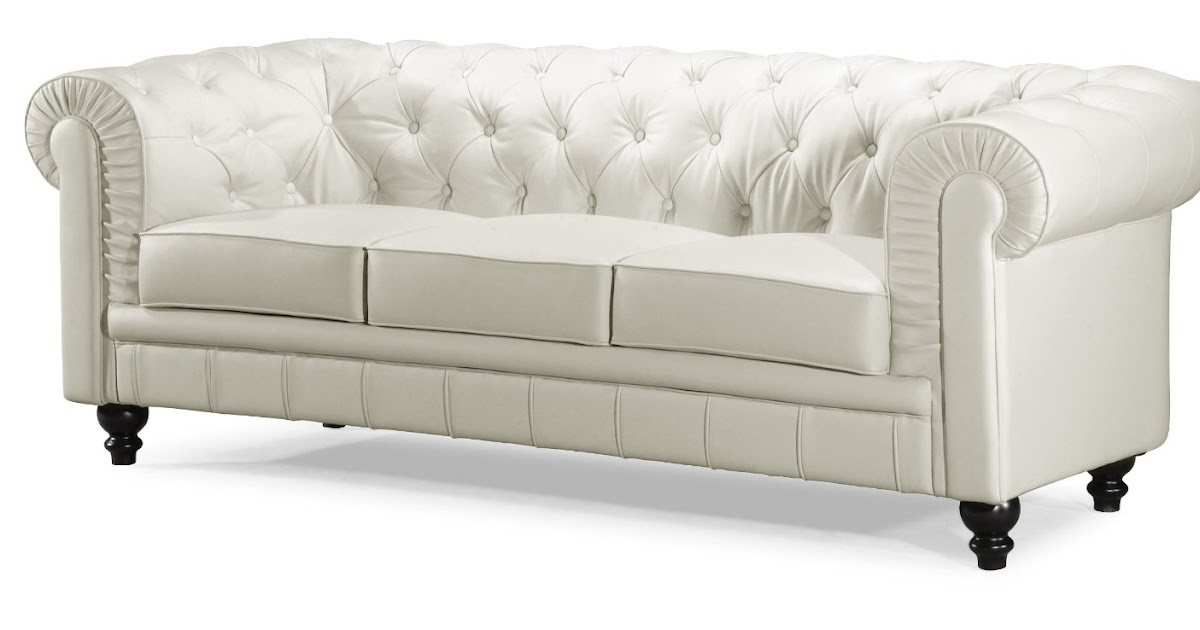 Buy White Leather Sofa Online: White Leather Tufted Sofa