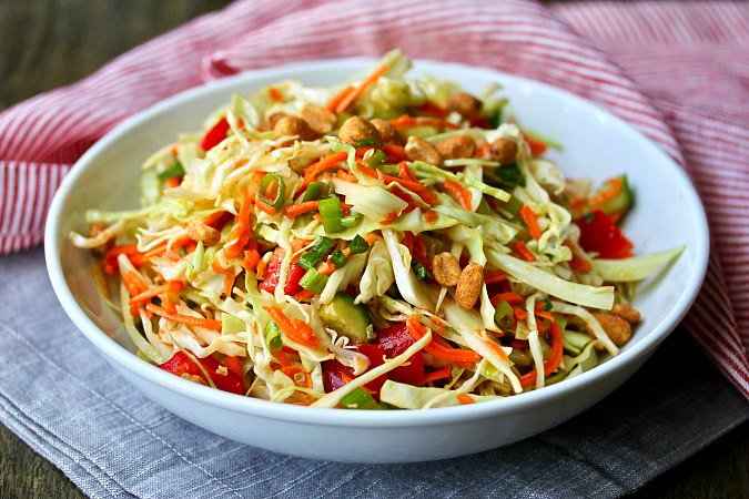 Thai Cabbage Salad with peanuts and red peppers