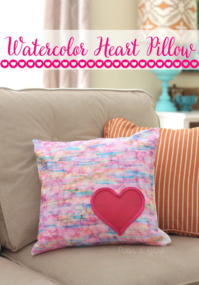 DIY Faux Watercolor Heart-Embellished Pillow pitterandglink.com