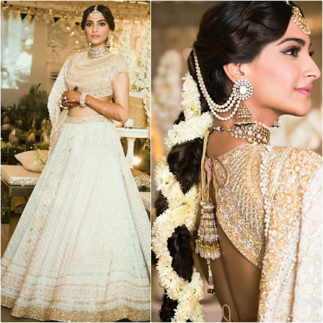 Sonam Kapoor wore a lehenga choli by Abu Jani Sandeep Khosla for her Sangeet Night