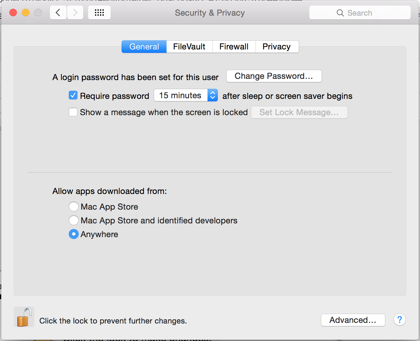 Mac Security & Privacy settings screenshot