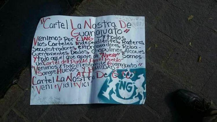 """Aparece nuevo  Cartel en Guanajuato El """"Cártel La Cosa Nostra de Guanajuato"""" y hace reto directo al CJNG con sangre huevo..s y humildad"""