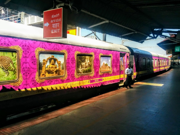 The gorgeous looking Golden Chariot Train - a palace on wheels of Karnataka