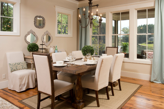 Rustic Dining Room with Classic Dining Room Tables And Chairs in Simple Style on the Brown Carpet