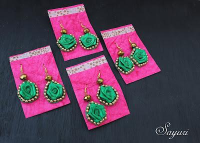 Bridesmaid gifts ribbon flower earrings