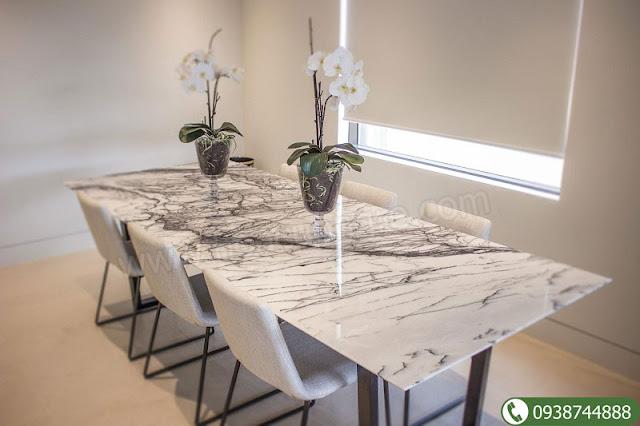 Đá cẩm thạch tự nhiên làm mặt bàn ăn