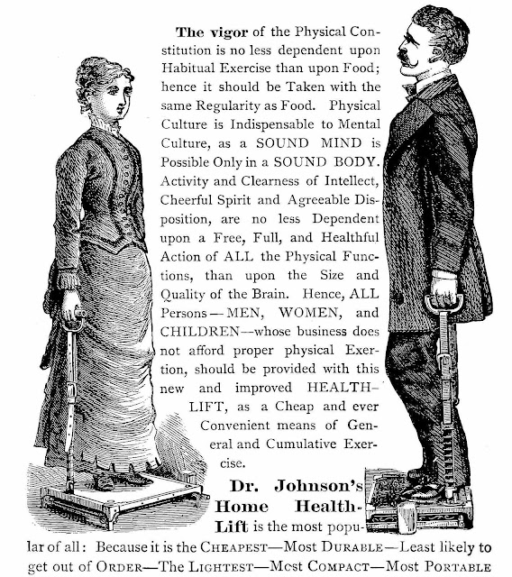 An illustrated advertisement for an 1879 fitness device