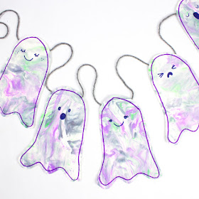 Marbled Ghost Banner Decoration- Fun craft and wall decorations for Halloween