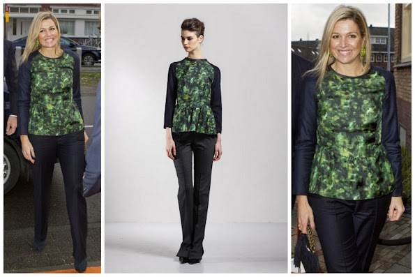 Crown Princess Maxima of The Netherlands wears Natan Camo Blouse