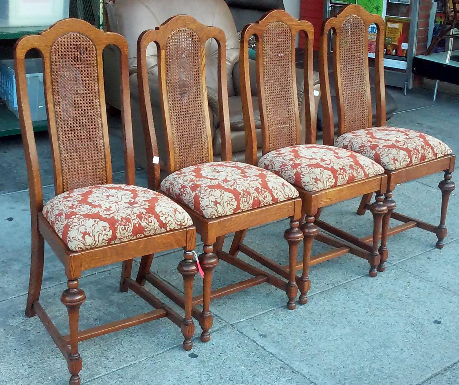 Uhuru Furniture Collectibles Sold 6710 Baroque Burnt Orange Vintage Oak Dining Chairs 60