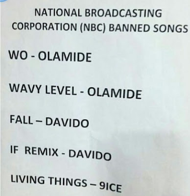 NBC bans Davido, Olamide and 9ice's songs