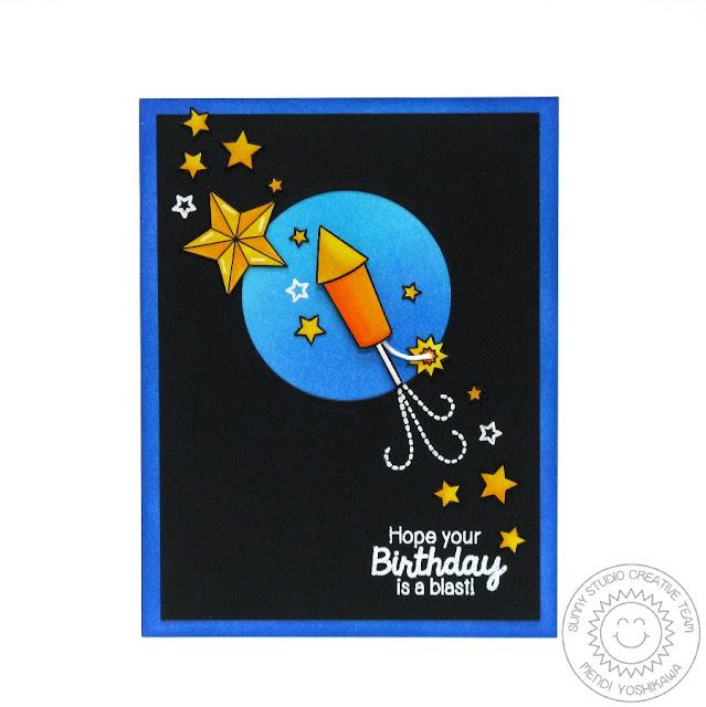 "Sunny Studio Stamps: Stars & Stripes ""Hope You're Birthday Is A Blast"" Rocket Card by Mendi Yoshikawa"