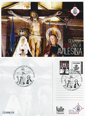 Tarjeta prefranqueada y matasellada de la Semana Santa de Avilés