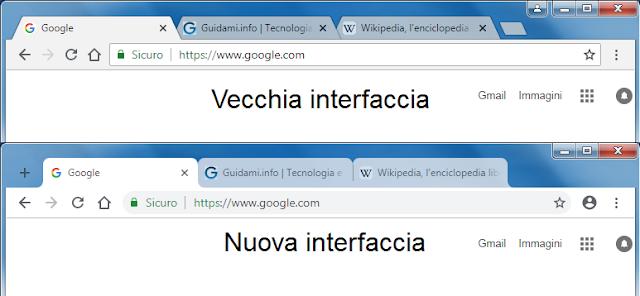 Chrome 68 confronto vecchia e nuova interfaccia grafica