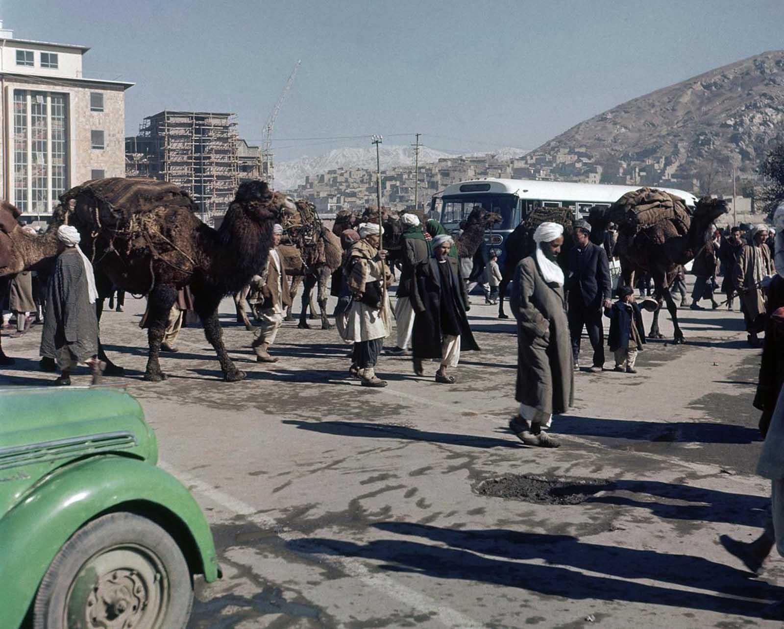 Street scene in Kabul, Afghanistan in November, 1961.