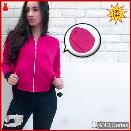 AND258 Jaket Wanita Bomber Crop Pink Fanta BMGShop