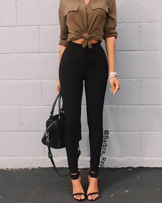 outfit juvenil con leggins negros casual