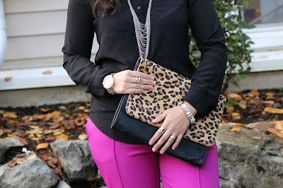 Cute work outfit: Plum Ankle Pants, Leopard print clutch bag, and Valentino Look-alikes