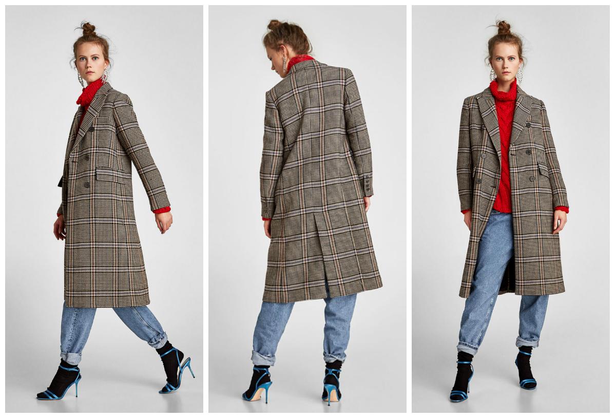 bafd40cc2bff Μακρύ παλτό με γιακά με πέτο και μακρύ μανίκι. Θηλιά στο πίσω μέρος και  κλείσιμο μπροστά με διπλή σειρά κουμπιών.