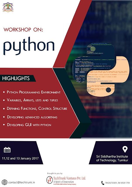 3 Days Workshop in Python at Sri Siddhartha Institute of Technology (Jan 11-13, 2017)