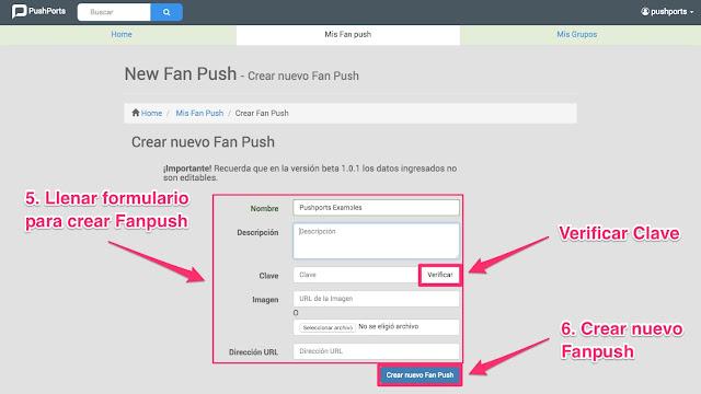 Crear nuevo Fanpush en pushports imagen 2