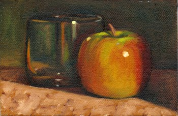 Oil painting of a Pink Lady apple next to an old fashioned glass.