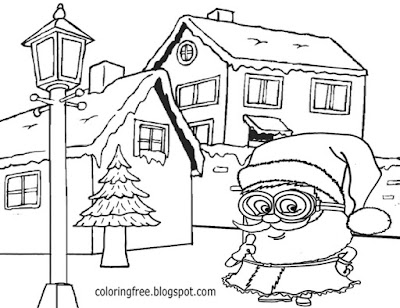 Best easy to draw cartoon Santa printable funny minion Christmas coloring teenage sketch suggestions