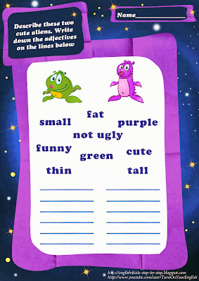 describe 2 cute aliens esl worksheet