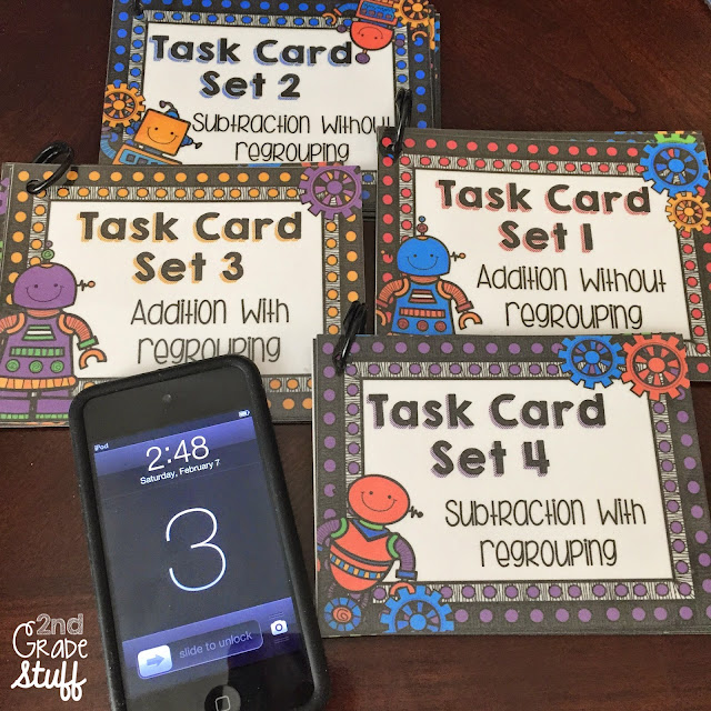 QR Code Task Cards. Self-checking centers for addition and subtraction for 2nd grade.
