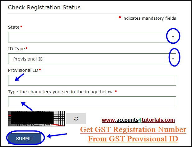 track gst registration number from gst provisional id